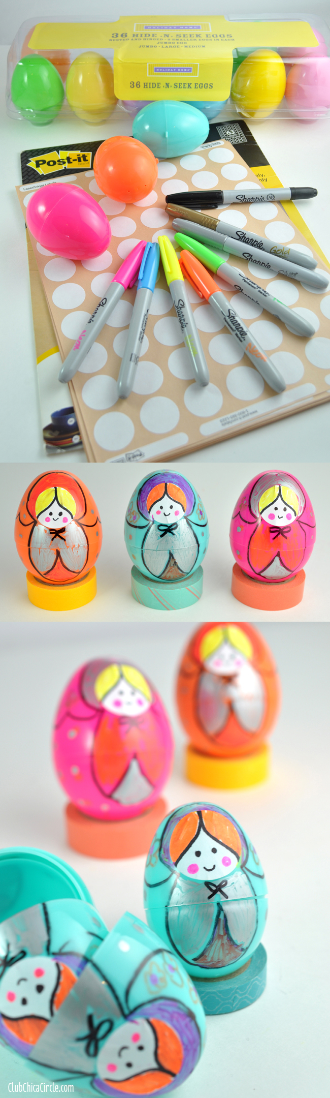 Russian Nesting Dolls Plastic Egg Craft Supplies