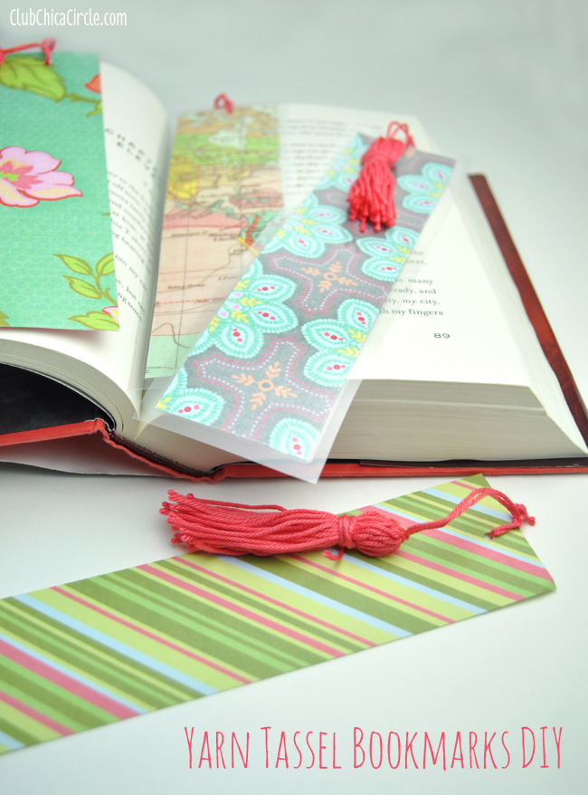 Scrapbook paper tassel bookmarks craft DIY