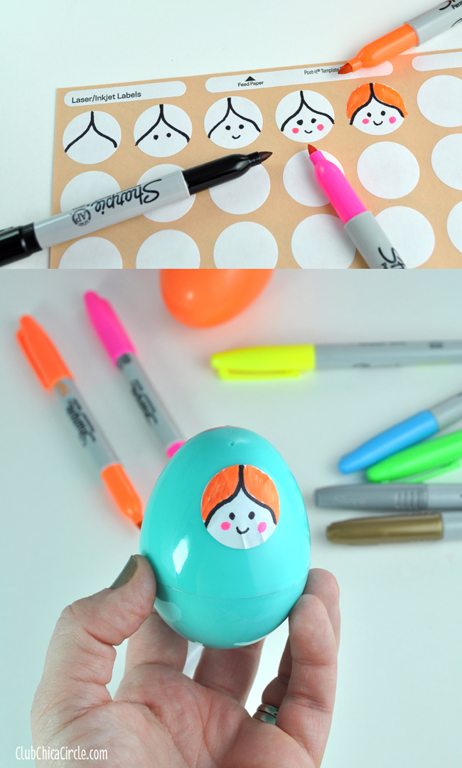 Step by step drawing cartoon face for nesting doll craft