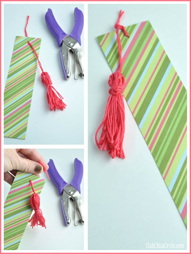 Tassel Scrapbook Paper bookmarks DIY