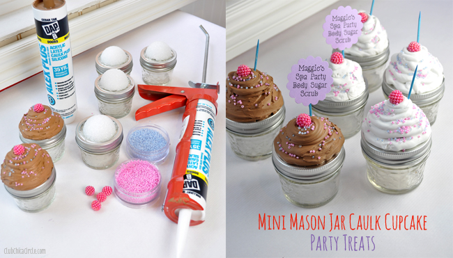 Tween Spa Birthday Party Caulk Cupcake Mini Mason Jars Craft