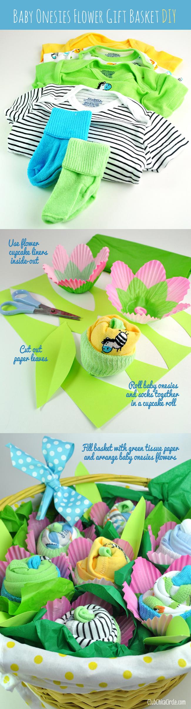 baby onesies for flower basket gift easy tutorial