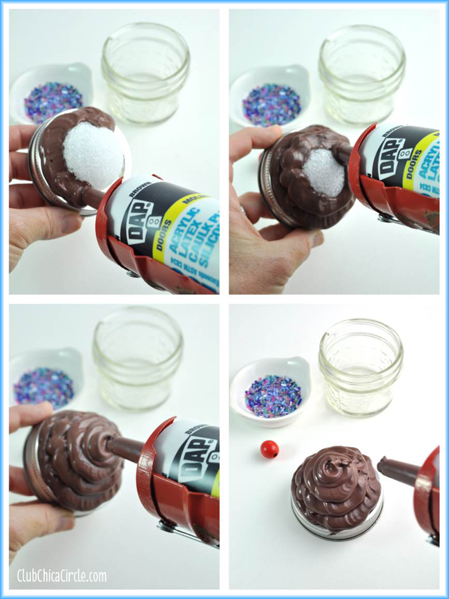 caulk cupcake mason jar craft and gift idea