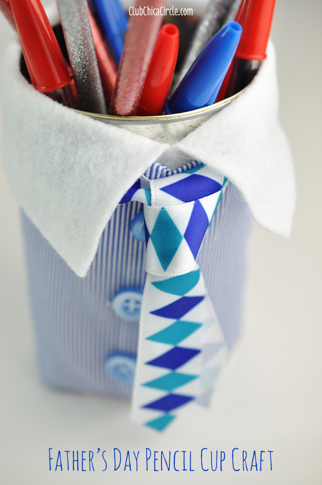 Father's Day Suit and Tie Pencil Cup easy craft idea