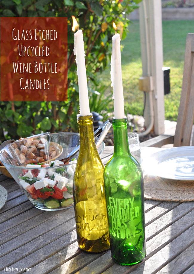 Glass Etched Upcycled Wine Bottle Candles