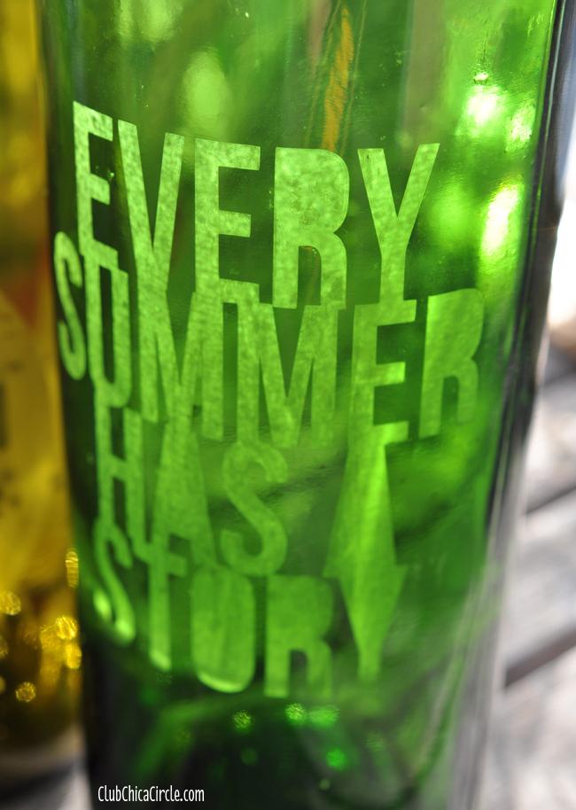 Glass Etched Wine Bottles Craft Idea