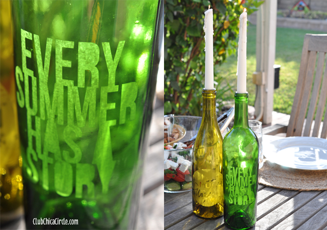 Glass Etched Wine Bottles DIY and Craft Idea