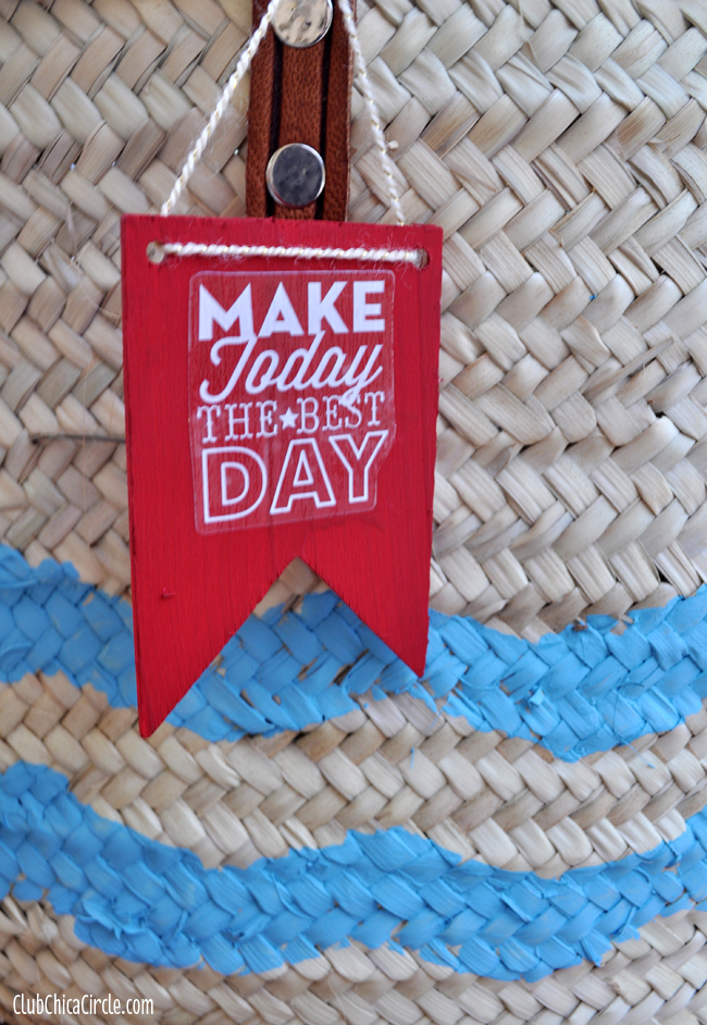 Handmade wood bag tag craft idea