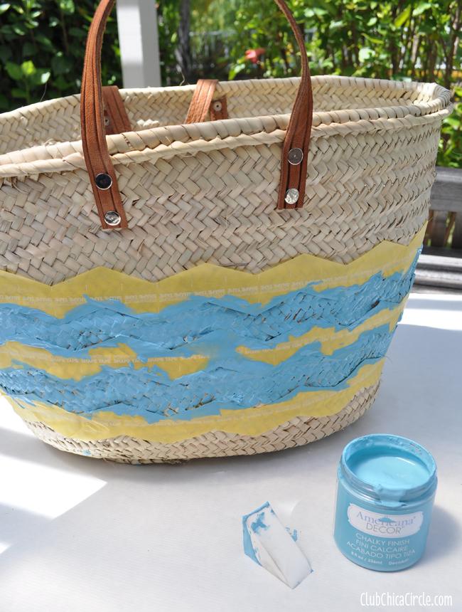 How to paint chevron stripes on a beach bag