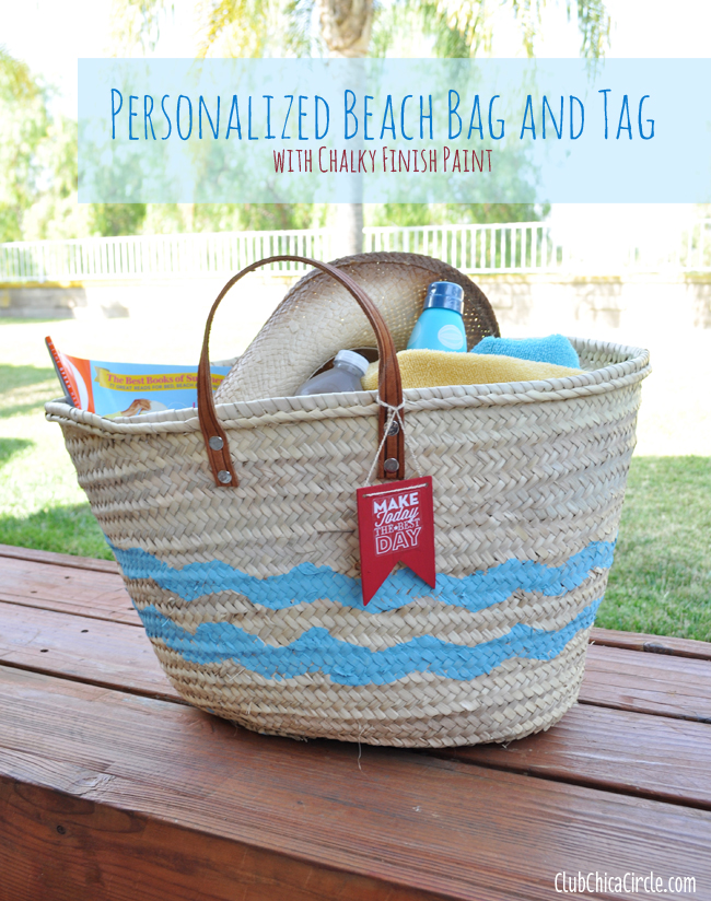 Personalized Beach Bag and Tag with Chalky Finish Paint