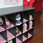 Shoe shelf lined with decorative flair from #DuckShelfLiner