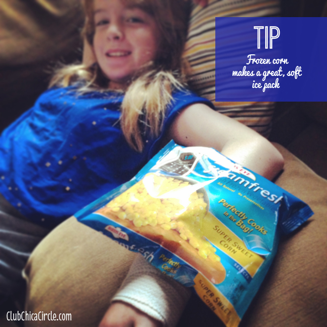 TIP- Use Frozen Veggies as an Ice Pack