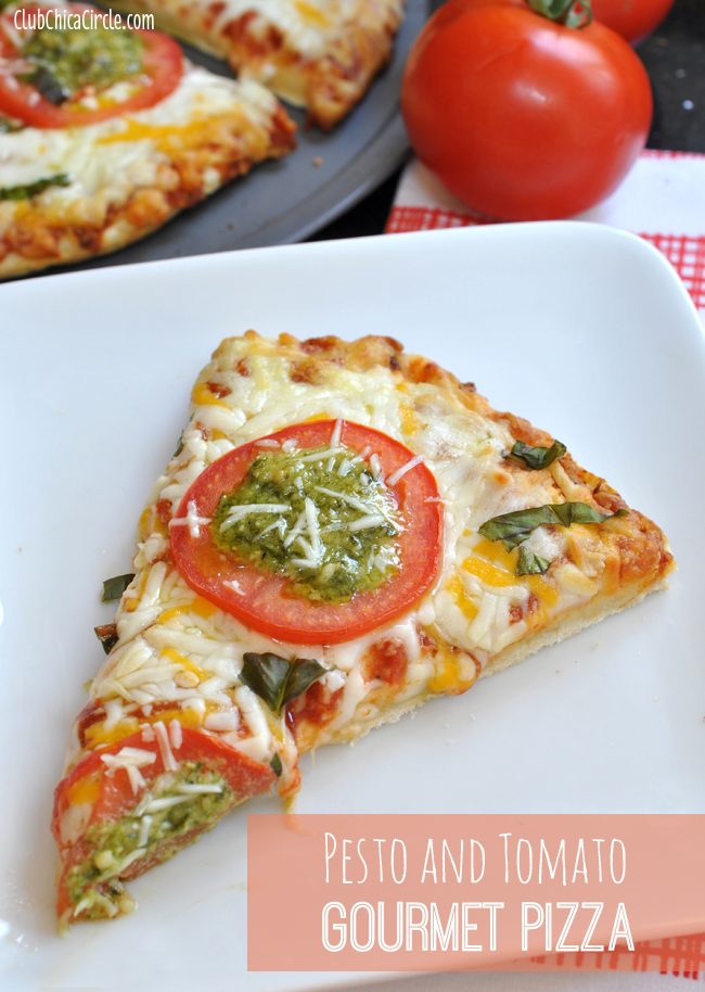 Turn Frozen Pizza into Gourmet Pizza with Pesto, Basil and Tomatoes