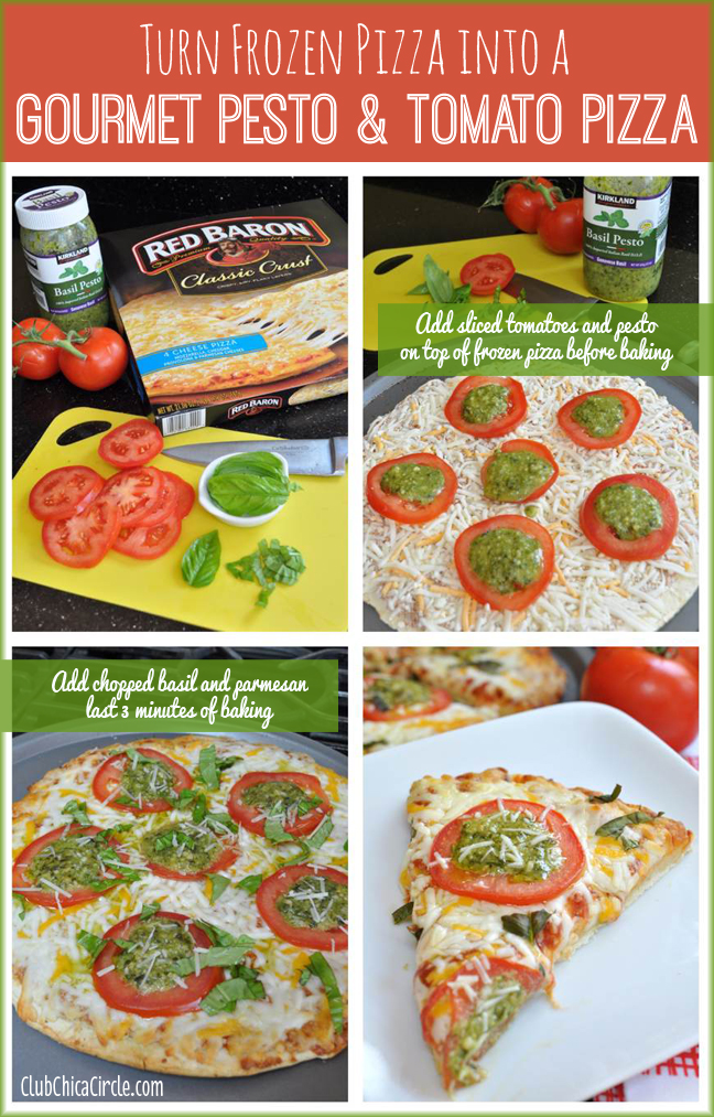 Turn Frozen Pizza into a Gourmet Pesto and Tomato Pizza