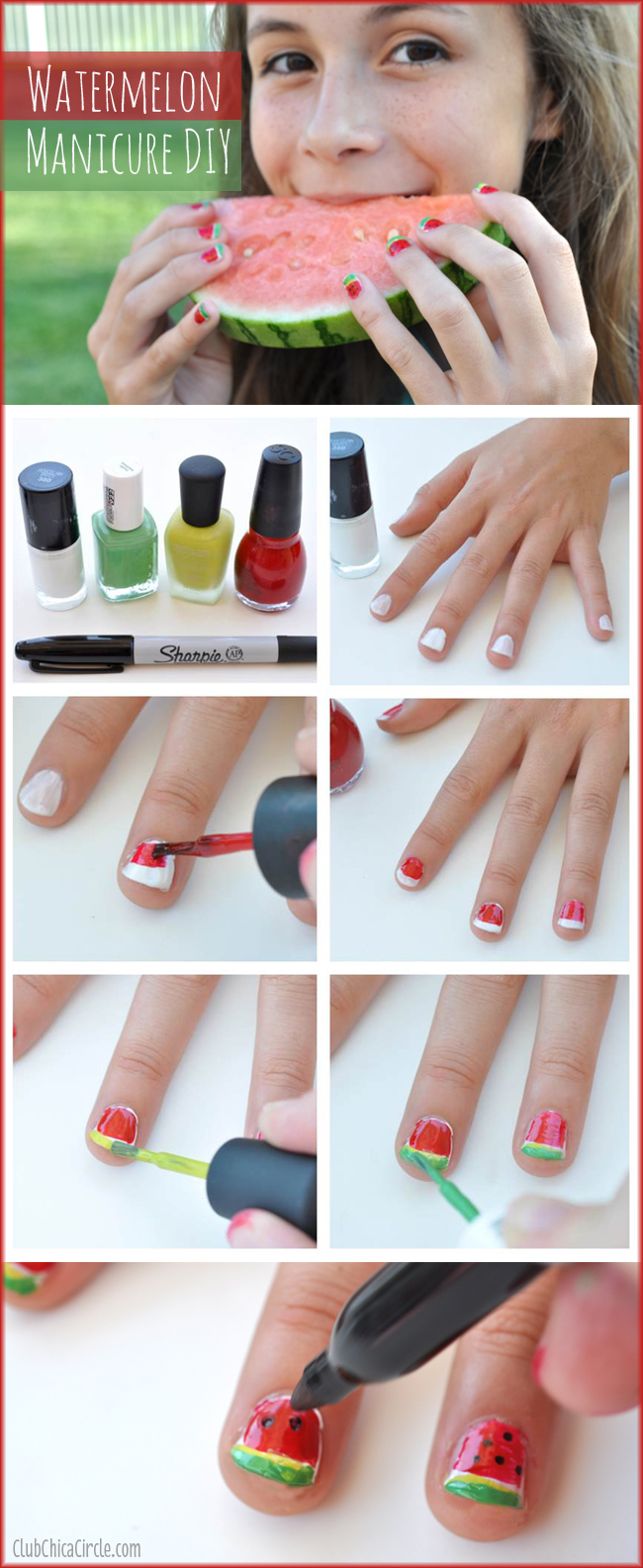 Watermelon Manicure Easy DIY for Tweens