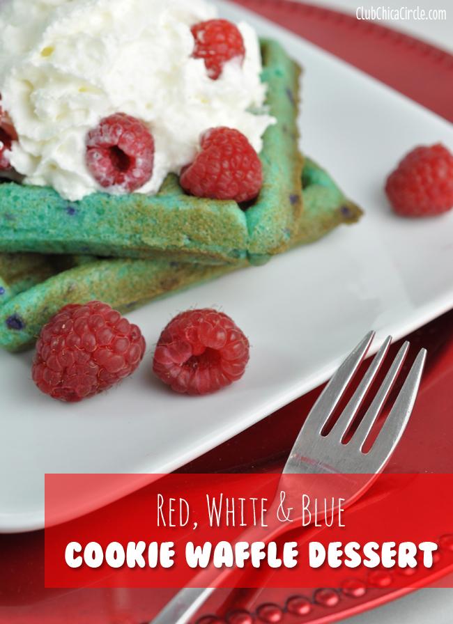Blue Raspberry cookie waffle dessert idea