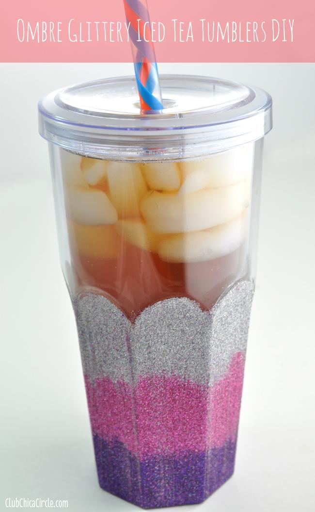 Ombre Glittery Iced Tea Tumblers Diy
