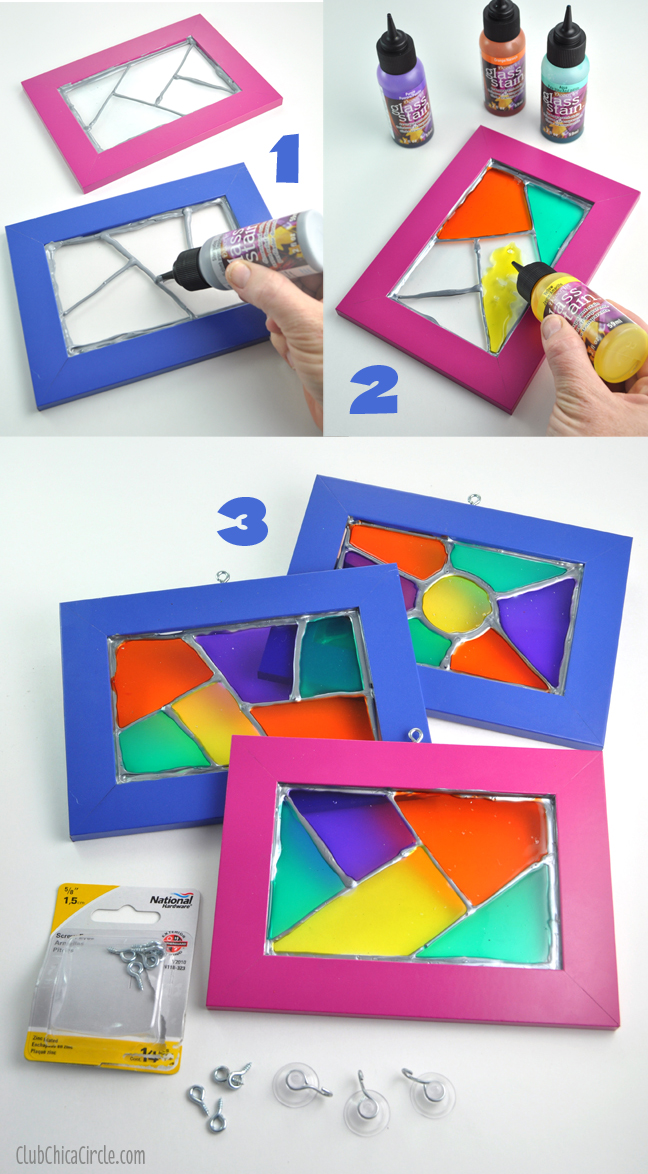 Glass stain frame suncatcher DIY