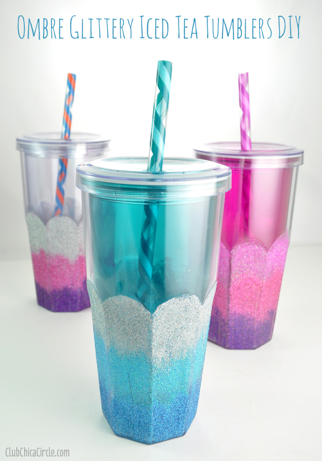 Glittery Plastic Tumblers Craft for #BrewOverIce Iced Tea