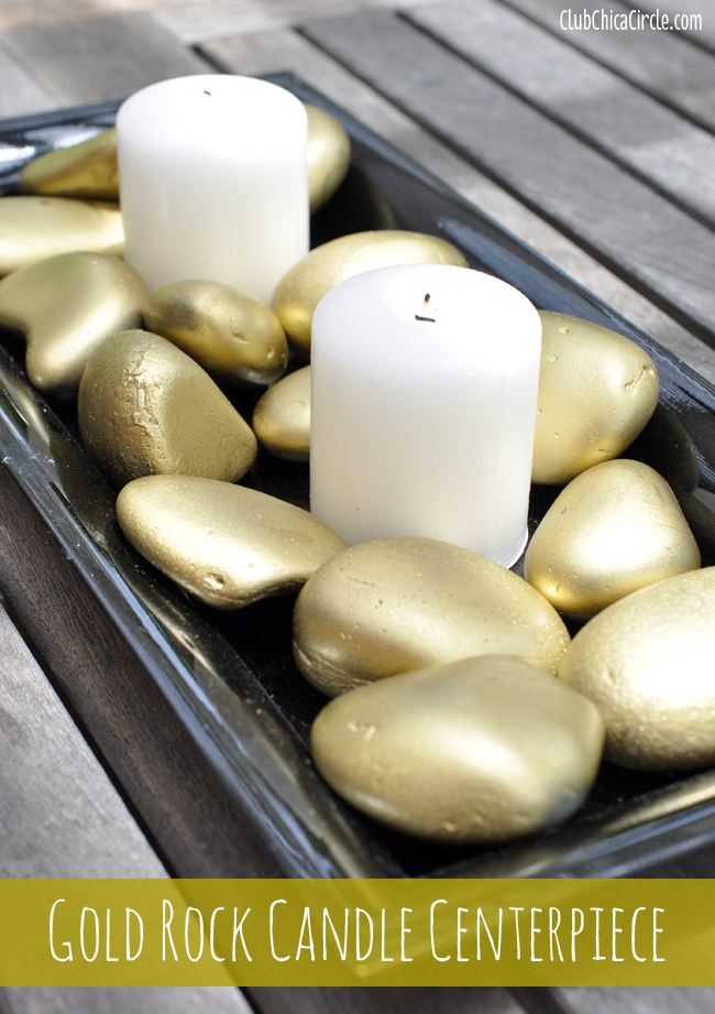 Gold Rock Candle Centerpiece Craft