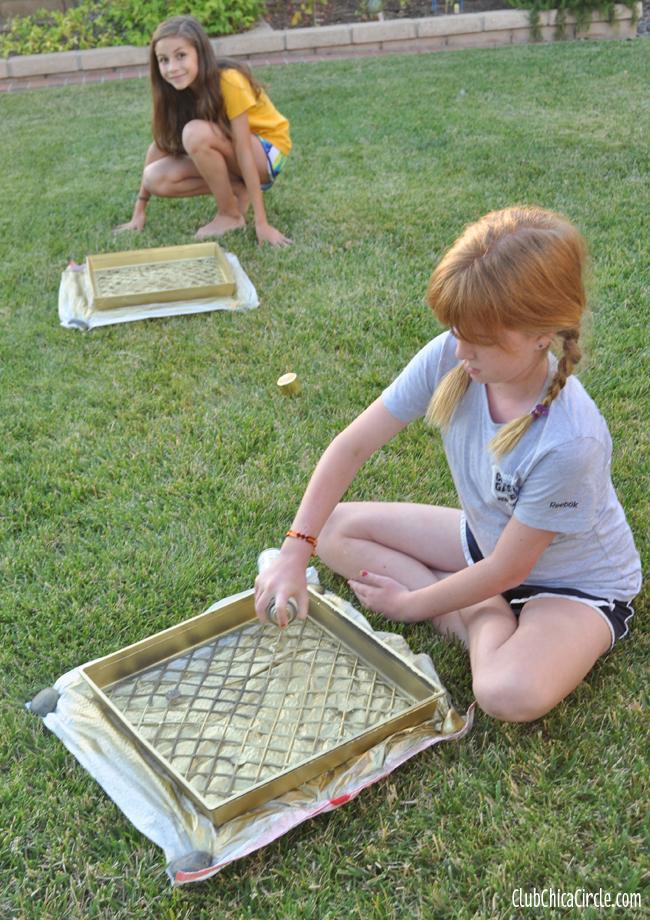 Gold spray-painted homemade jewelry organizer