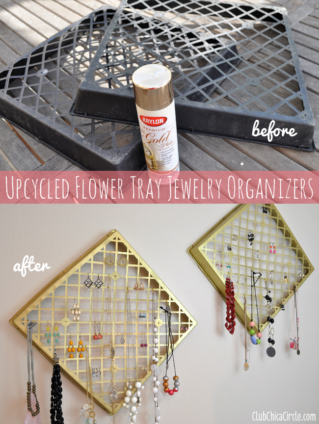 Upcycled flower tray gold jewelry organizer diy for Diy upcycle