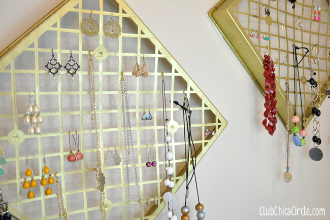 Upcycled Flower Tray into Pretty Gold Jewelry Organizer