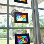 homemade stained glass frame suncatchers craft idea