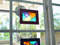 homemade stained glass frame suncatchers craft idea