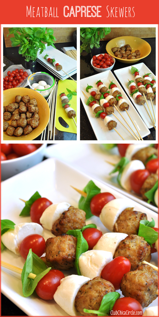 Easy Italian Meatball Caprese Skewers for a party