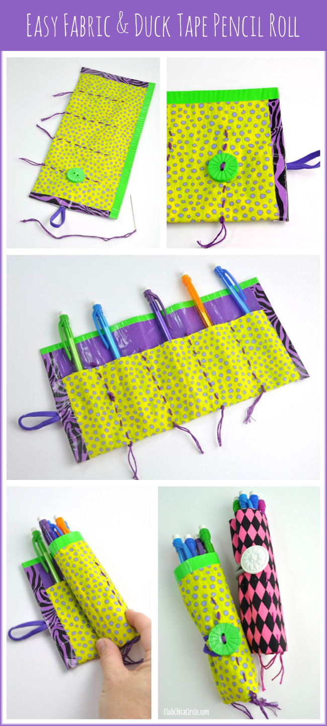 Easy fabric and duct tape pencil roll tutorial for kids