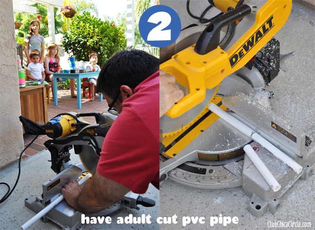 STEP 2 - PVC Water Guns cutting pipe step