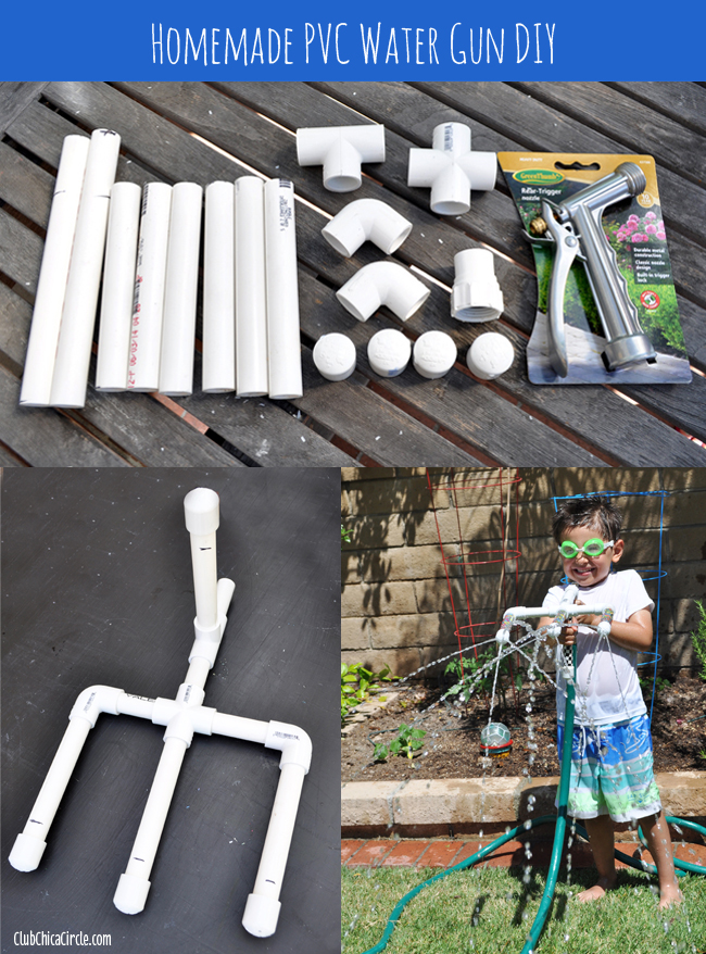 homemade PVC water gun DIY craft for kids