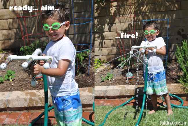 playing with homemade pvc water gun