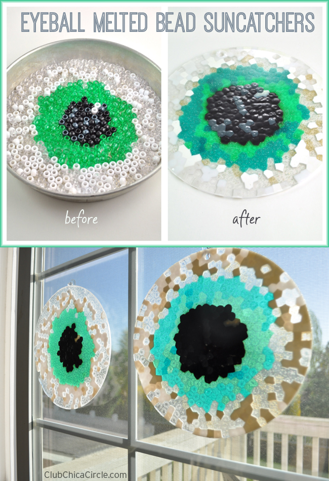 Eyeball melted bead suncatchers before and after