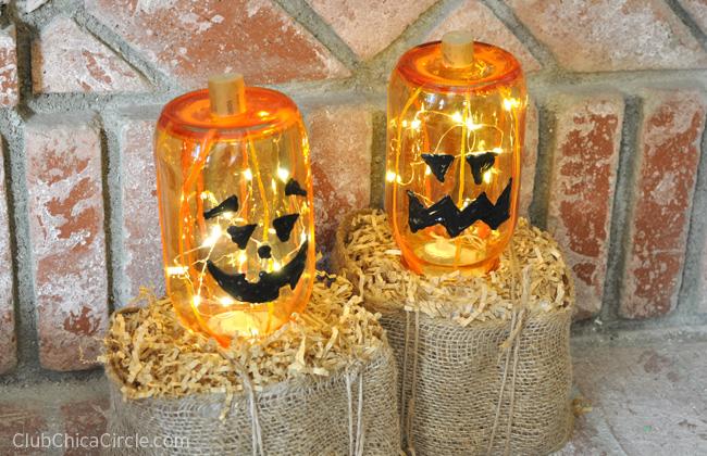 Glass Jack-o-lantern Halloween craft idea