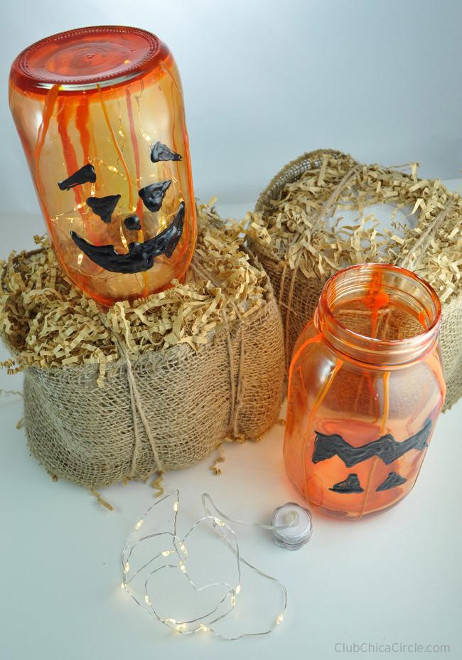 Glass Pumpkin Mason Jar Luminary Craft