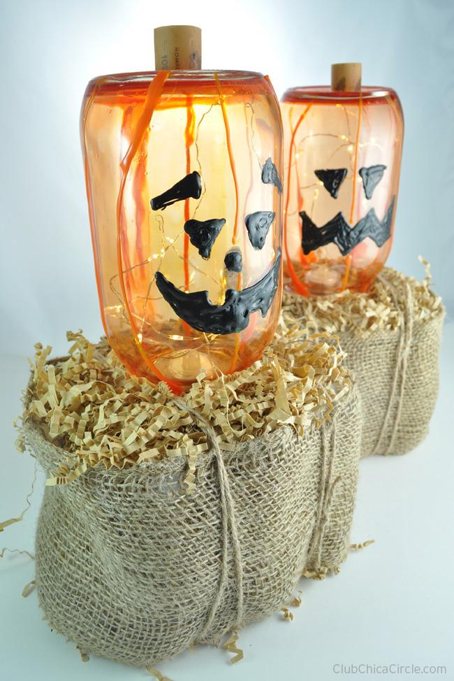 Glass Pumpkin on Homemade Hay Bale Craft DIY