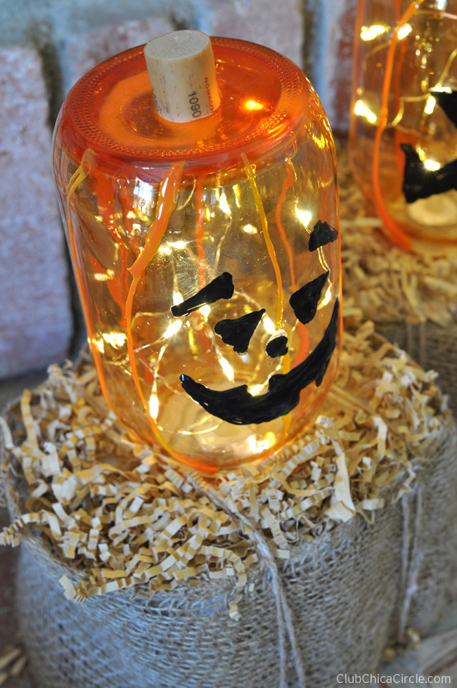 Mason Jar Pumpkin Luminaries DIY