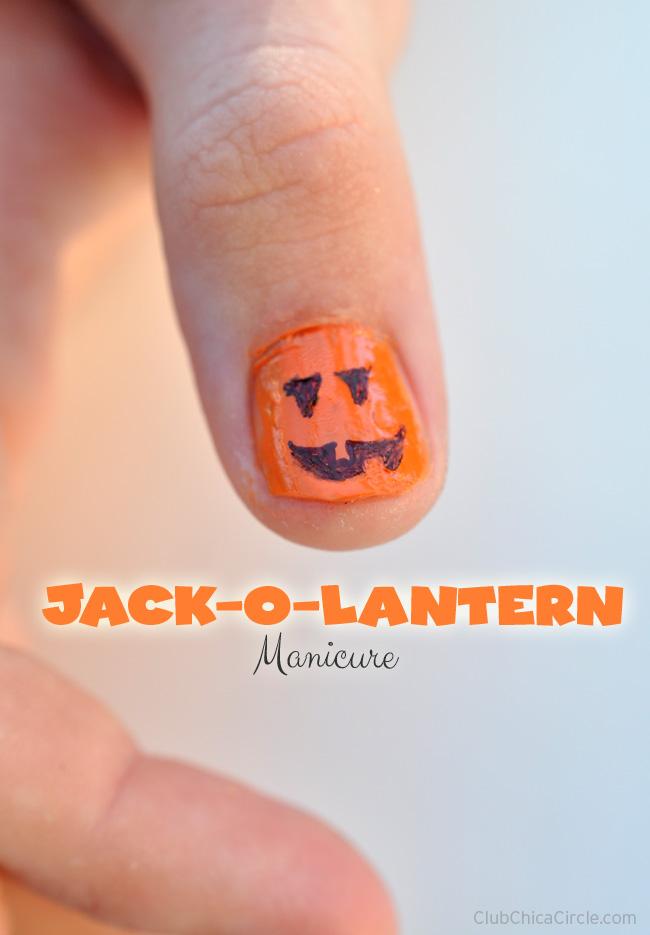 Pumpkin Jack o lantern Manicure DIY