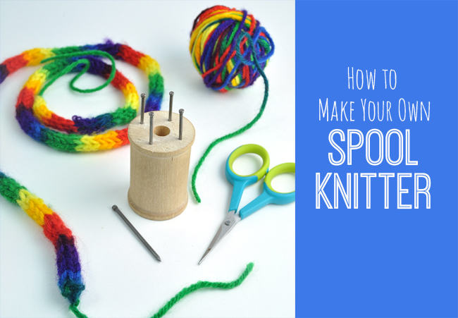 Spool knitting easy DIY for tweens with wood spool and nails