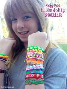 Tween puffy paint friendship bracelet craft idea