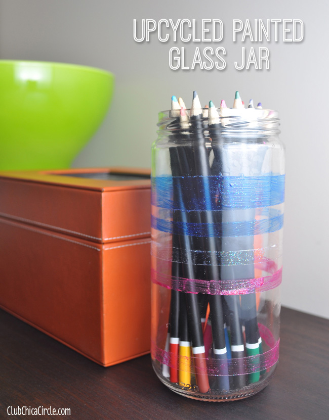 Upcycle Glitter Painted Pencil Jar