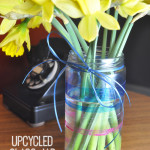 Upcycled Glitter Glass Painted Jar Vase DIY