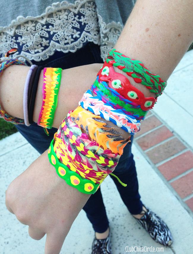 puffy paint bracelets DIY