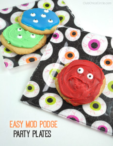 super easy eyeball cookies and mod podge party plates craft