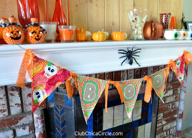 BOO and Day of the Dead Halloween Bunting Banner Mantle Decor
