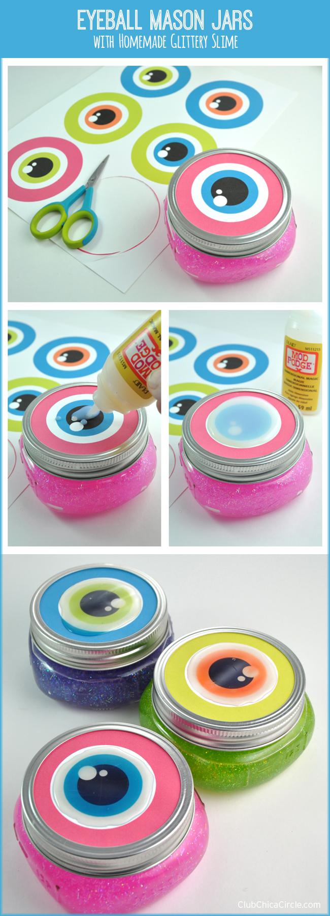 Eyeball Mason Jars Craft Idea with Homemade Glitter Slime