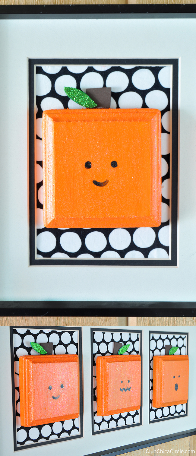 Glittery Square Pumpkins Wall Hanging Halloween DIY