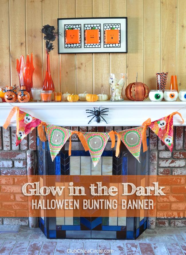 Glow in the dark BOO triangle bunting Halloween banner